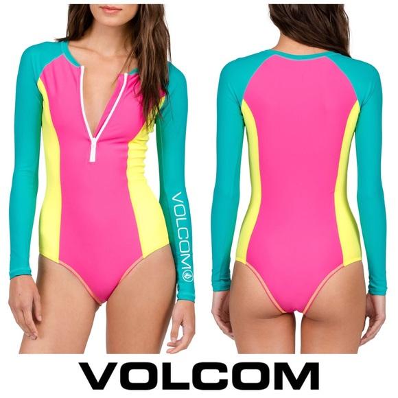 40babb54b0 Volcom Swim | Long Sleeve Zip Up Retro Neon Body Suit | Poshmark